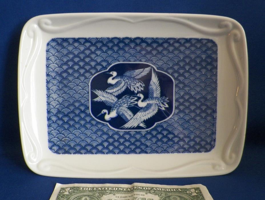 VntgTray BLUE & WHITE PORCELAIN W/ CRANES MIYAKO Mann Fine China 1977 Japan EUC