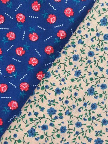 Vintage 100% Cotton Quilt Fabric 2 Pcs Blue Red Rose Floral Dk Ivory Blue Floral