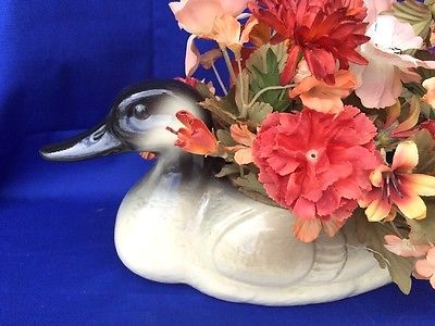 CANADIAN GEESE GOOSE Duck Decoy Antique PORCELAIN Floral Folk Art Primitive RARE
