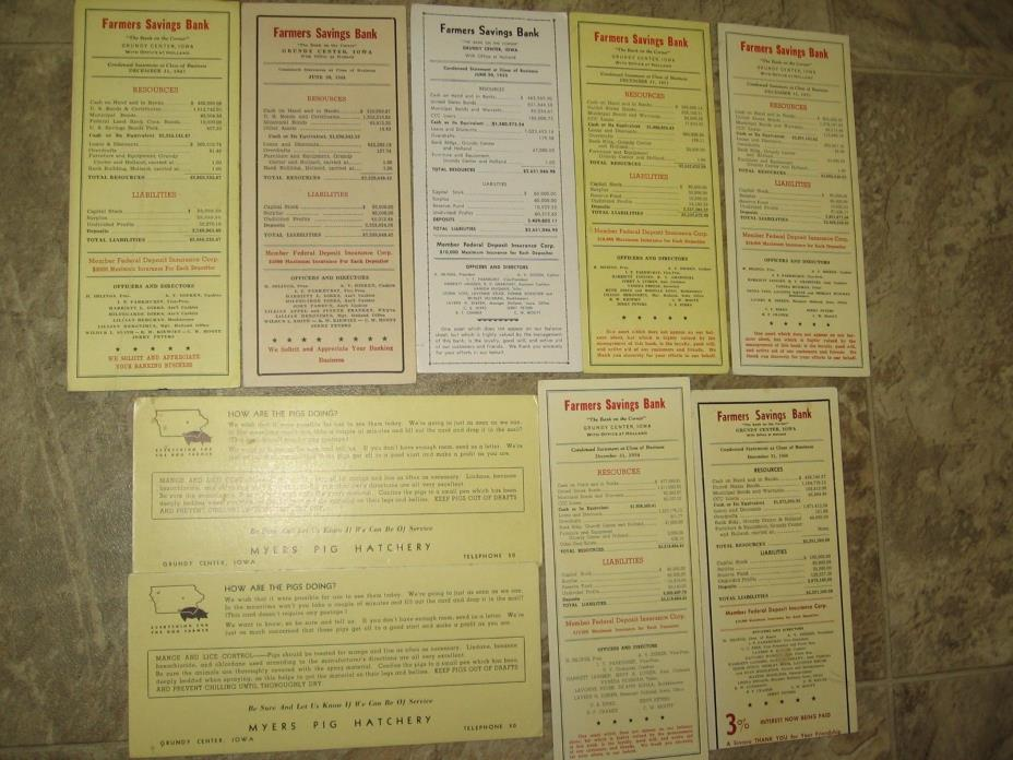 Farmer's Bank Cards- Statements for Year-1947-1960 + 1930's Myers Pig Hatchery