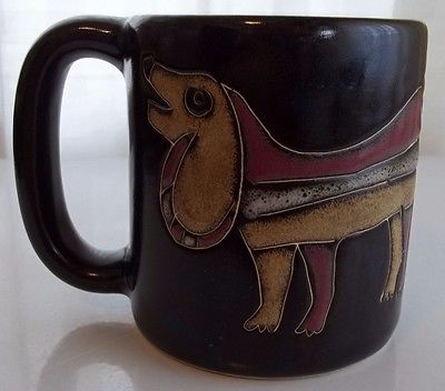 DESIGNED BY MARA POTTERY MUG WITH 2 DOGS MADE IN MEXICO