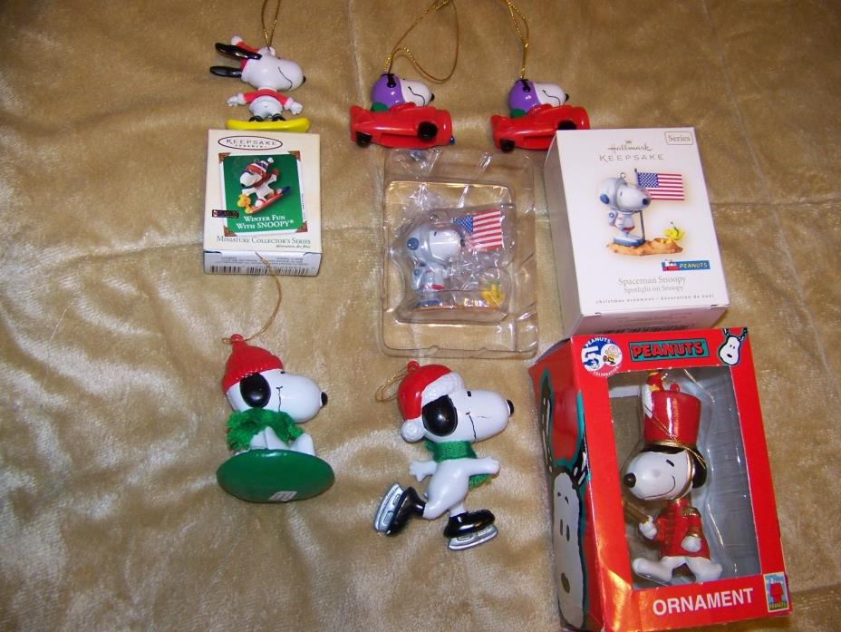 Peanuts Snoopy 7 Christmas Ornaments Hallmark, United Feature Syndicate L@@K!