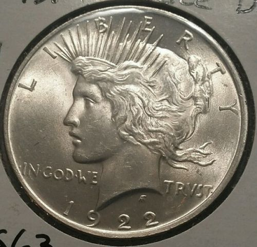 1922 Peace Silver Dollar, nice sheen, good collector add-on.