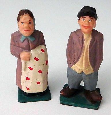 Vintage Folk Art Hand-Painted Man and Woman Miniature Figures