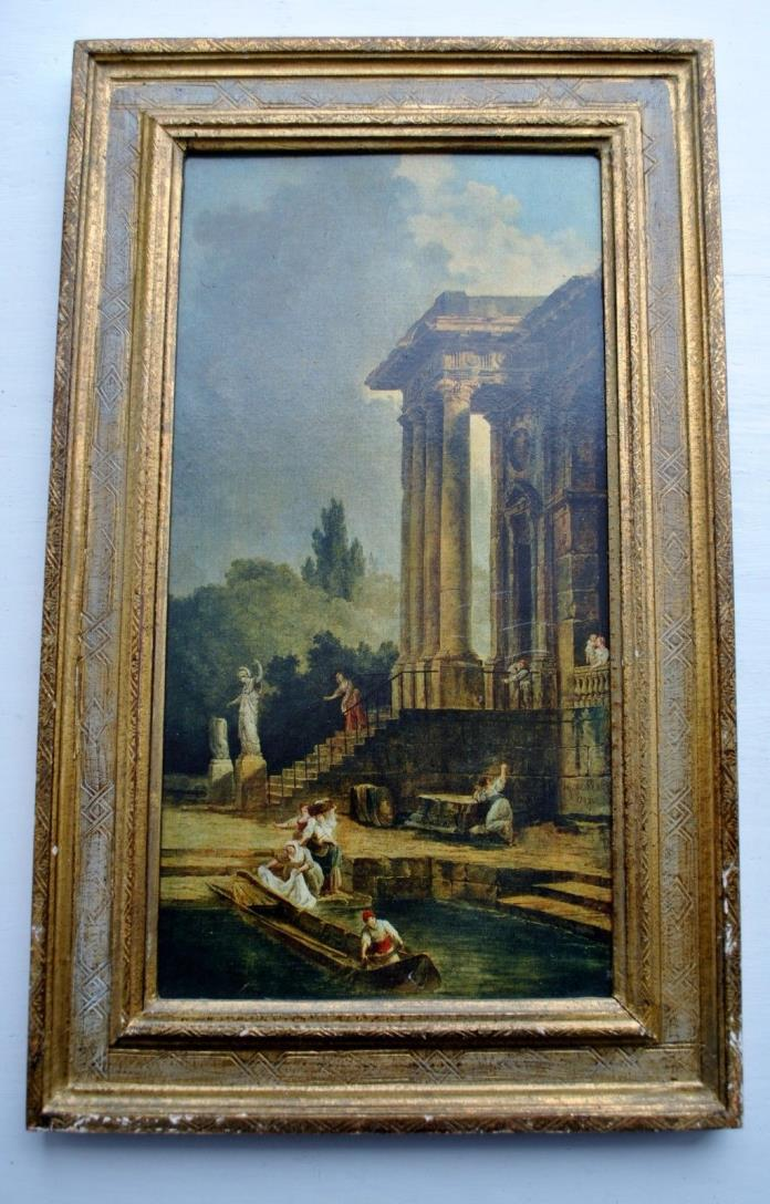 Vintage Italian Picture Print Tole Florentine Gilt Wood Frame