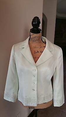 Special occassion suit jacket pale green embellished sz 10 great neutral tone.