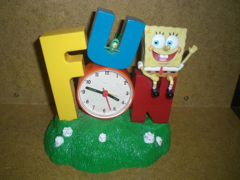 2002 Spongebob Squarepants Plankton FUN Alarm & Clock Musical Battery Plays Song