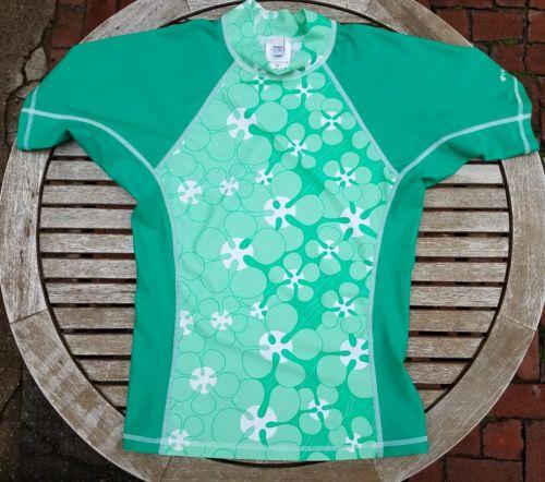 Patagonia Women's Water Girl Green Floral Rash Guard, sz M