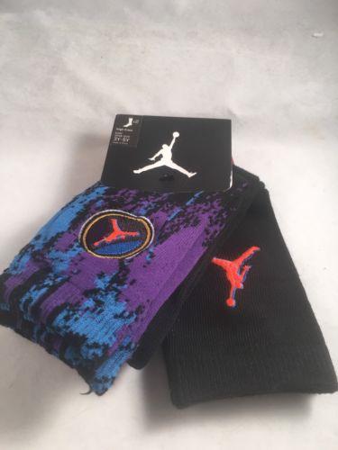 2 Pair Nike Air Jordan High Crew Socks 3Y-5Y Black Athletic Gift Boys Girls 7-9