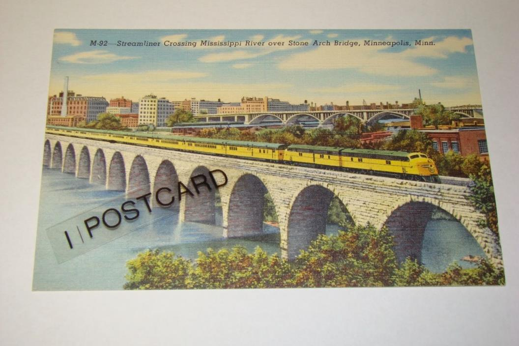 Vintage STONE ARCH BRIDGE, Minneapolis, Minnesota MN - Linen