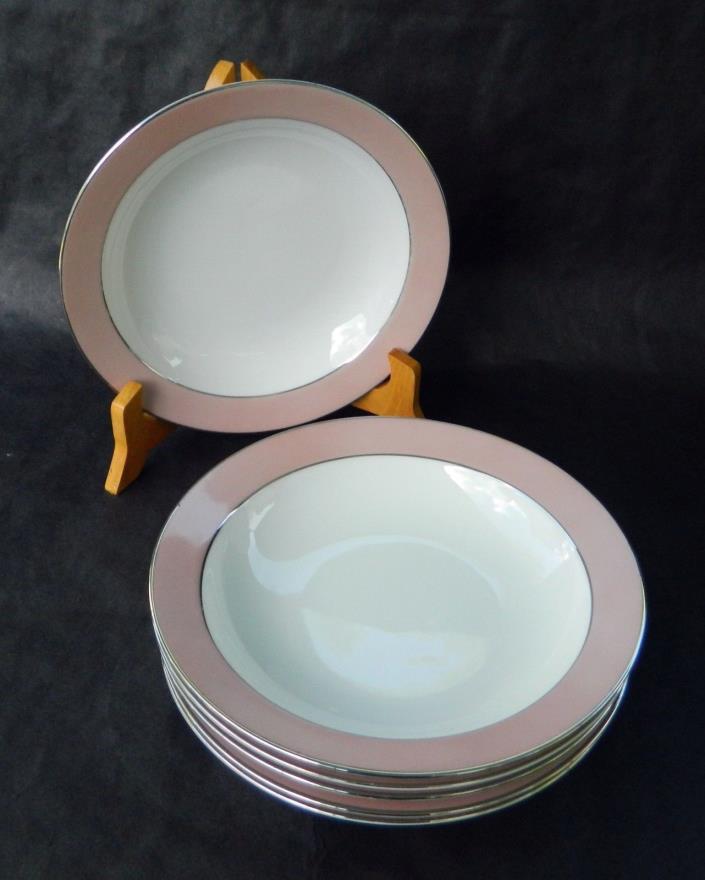 SANGO China RHAPSODY - PINK BAND-- (6) SOUP BOWLS - 7 1/2