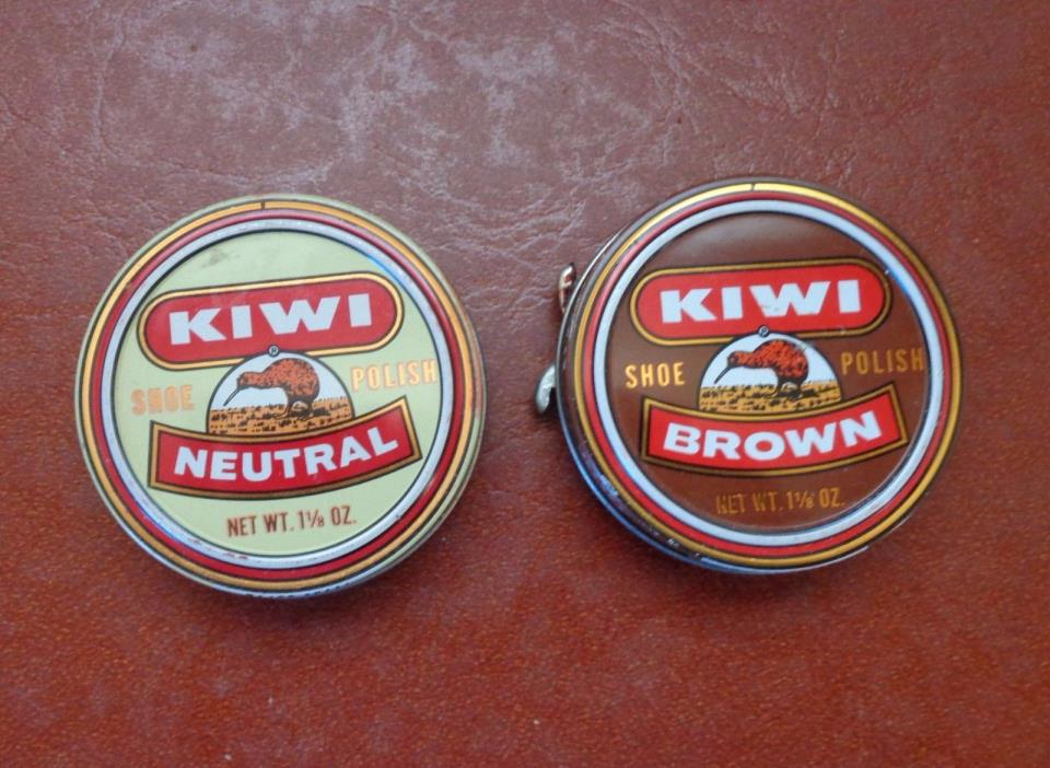 Kiwi Shoe Polish Vintage Tin USED Brown Neutral Lot of 2 Cans with old Wax