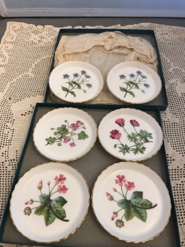 Minton Set of 6 Butter Pat Coaster Cup Plate Gold edge original box