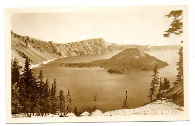 J4146: OR Oregon CRATER LAKE Nice View of WIZARD ISLAND Real Photo Postcard RPPC