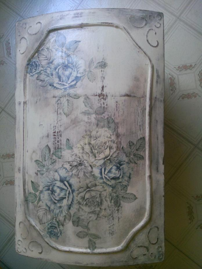 Handpainted wooden box/chest/trunk aged looking floral storage/decorative box