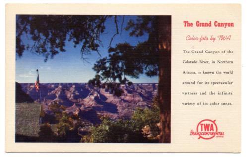 3056:* Airline TWA  -  Grand Canyon -  Linen w/logo  Postcard