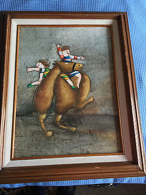 VINTAGE JOYCE ROYBAL'S  OIL PAINTING OF TWO ROYBAL'S KIDS ON A HORSE.