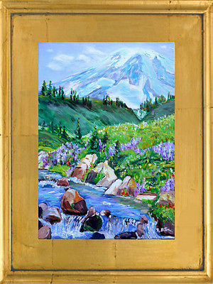 ORIGINAL IMPRESSIONIST PAINTING 18x24 MT. RAINIER, WA STATE, by Artist R. BITTON