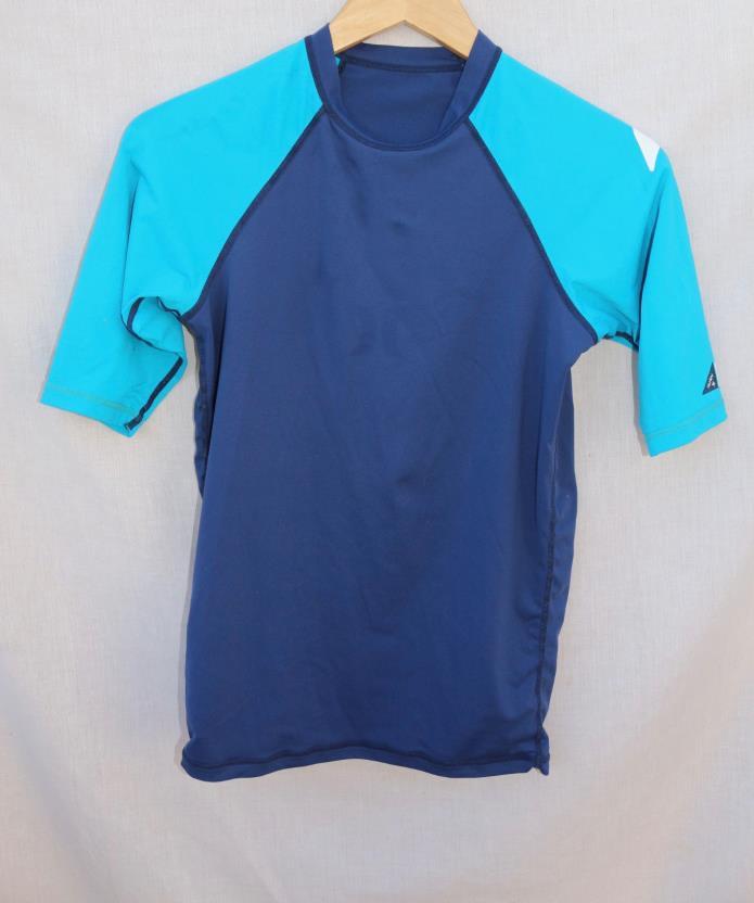 HURLEY medium blue short -sleeved RASH GUARD polyester & elastic