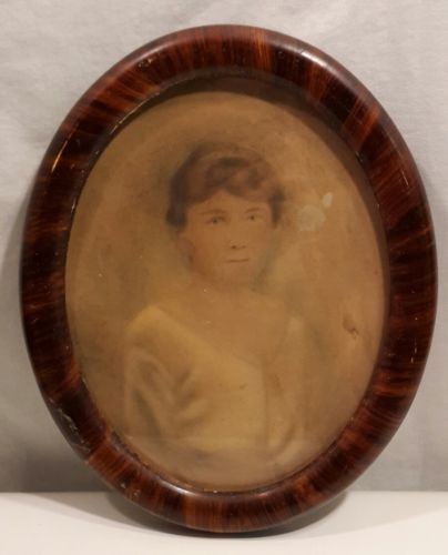 Antique  Oval Tiger Wood Picture 2 Frames w/ Flat Glass & Man & Women Portraits