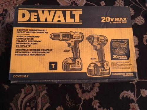 NEW DeWalt DCK285L2 20V MAX Li-Ion 2-Tool Combo Kit DCD785 Drill, DCF885 Impact