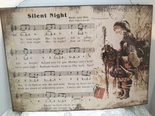 Vintage Look Metal Christmas Music Sign