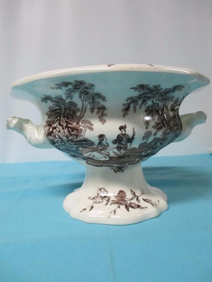 Mason's England Brown Watteau Ironstone Footed Peking Salad Bowl 1890-1973