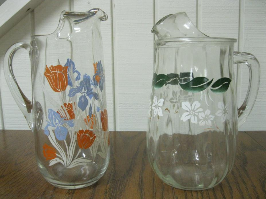 VINTAGE 1950's JUICE PITCHERS - EXCELLENT - Clear,  Clean,  No Chips -  Kitchen