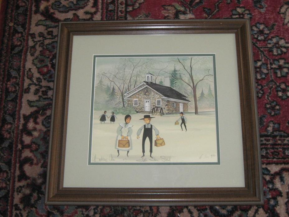 Little Stone School Framed Limited Edition Print Patricia Buckley Moss 1997