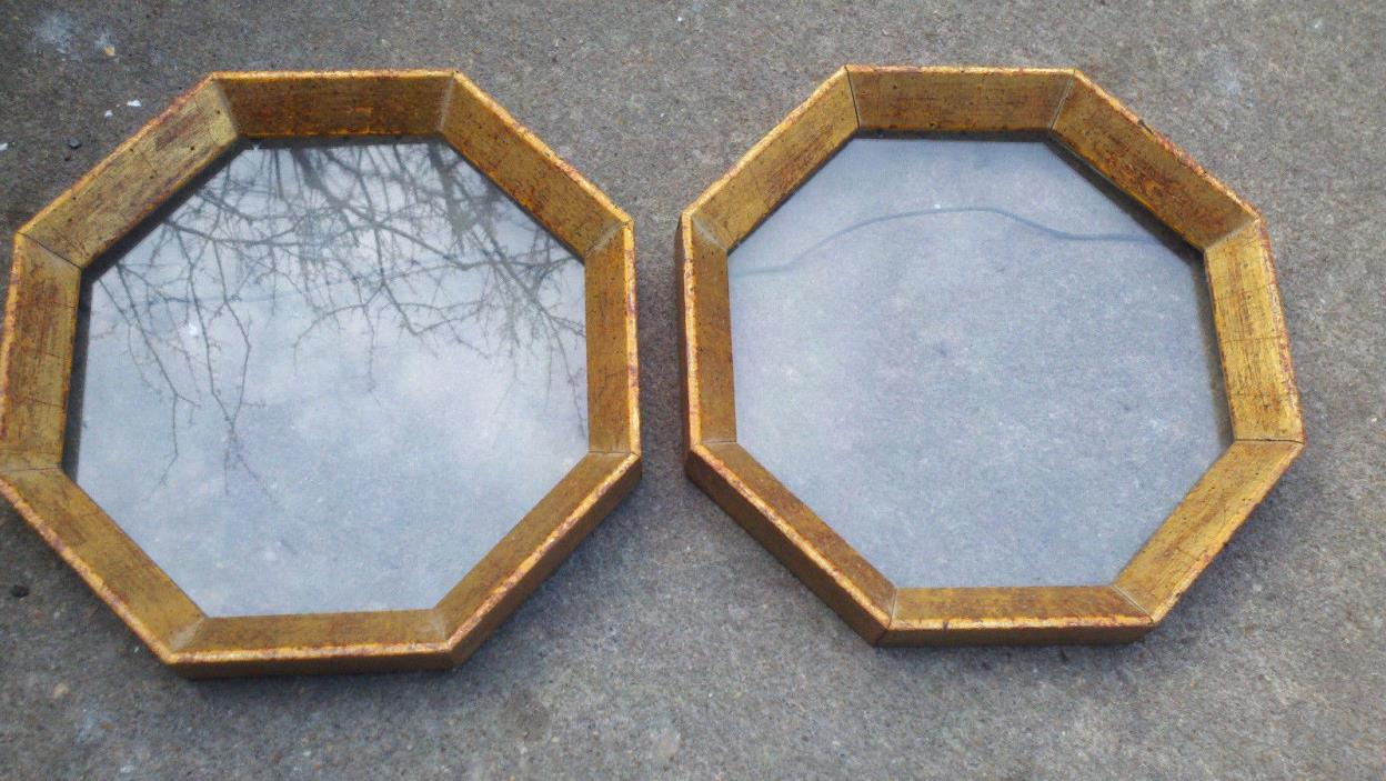 SCARCE OCTAGONAL PICTURE FRAMES - MATCHING PAIR REAL WOOD - NO HOMCO OR SYROCO