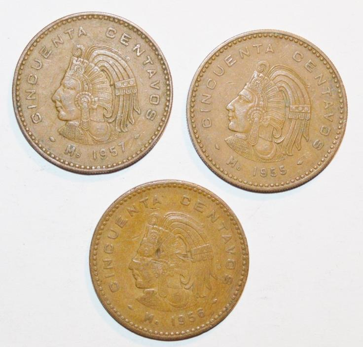 1955 1956 1957 CINCUENTA CENTAVOS LARGE snake MEXICO world lot 3 COINS
