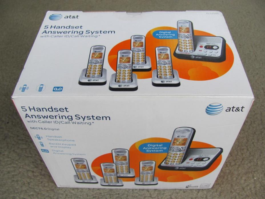 AT&T EL52500 DECT 6.0 Cordless Digital Answering System Telephone w /5 Handsets