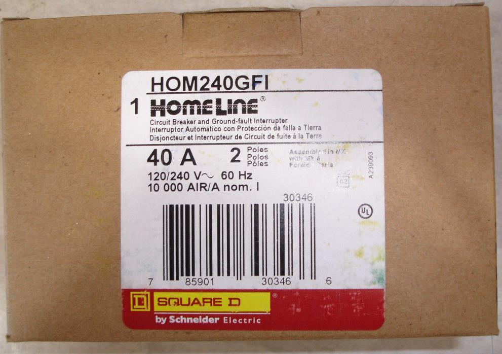 New Square D Homeline HOM240GFI 40 amp GFI Ground Fault Circuit Breaker