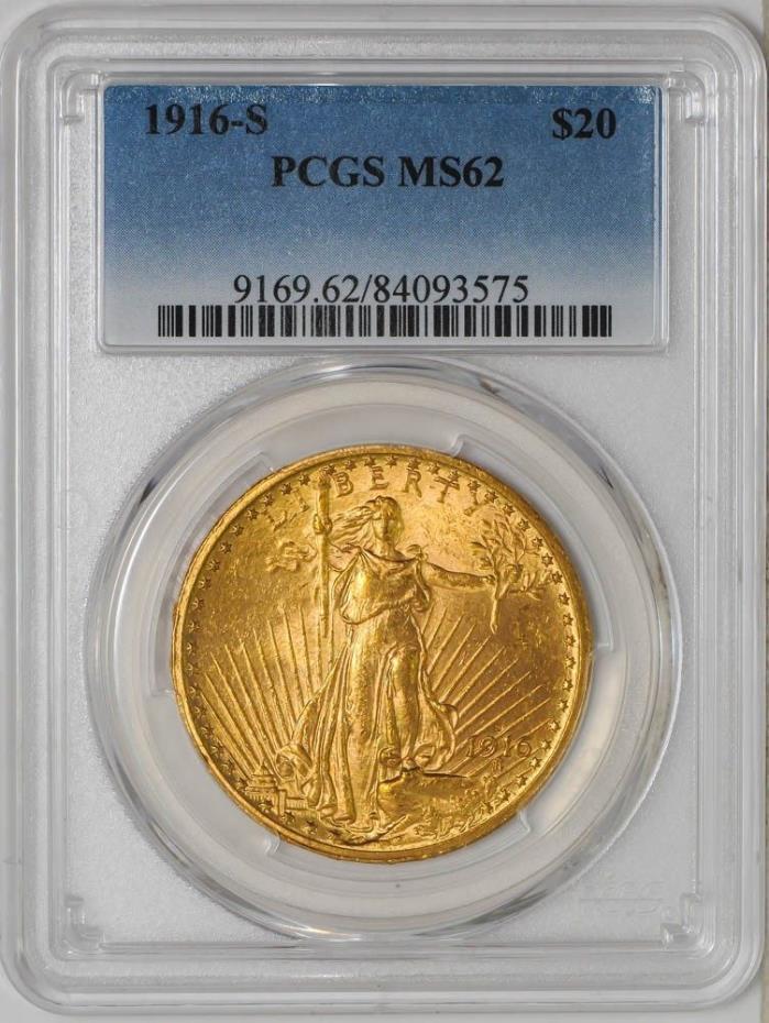 1916-S $20 Saint Gaudens MS62 PCGS