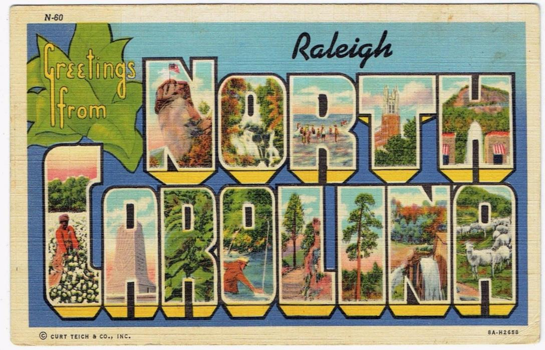 Greetings from Raleigh North Carolina, Old Linen Postcard, circa 1941