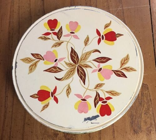 Vntg Hall Jewel Tea Autumn Leaf Holiday Fruit Cake Cookie Candy Tin