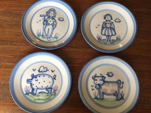 4  M.A. Hadley Dinner Plates 11 Inches