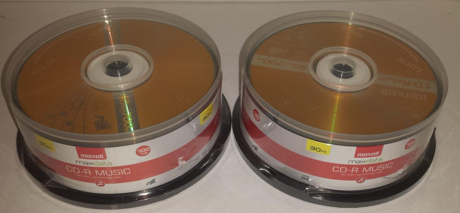 Lot of  2 Maxell Music 32x 80 minute / 700MB CD-R Media Audio - 30 Pack Spindle