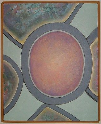 ENIGMA, Original Abstract Acrylic Painting, 1982,16X20, CORSANIC0, INVEST IN ART