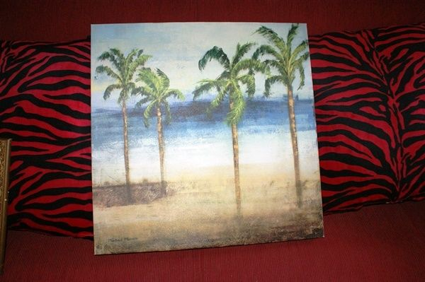 ORIGINAL PAINTINGS OIL CANVAS OF MICHAEL MARCON  PALMS TREE ON THE BEACH 24 INCH
