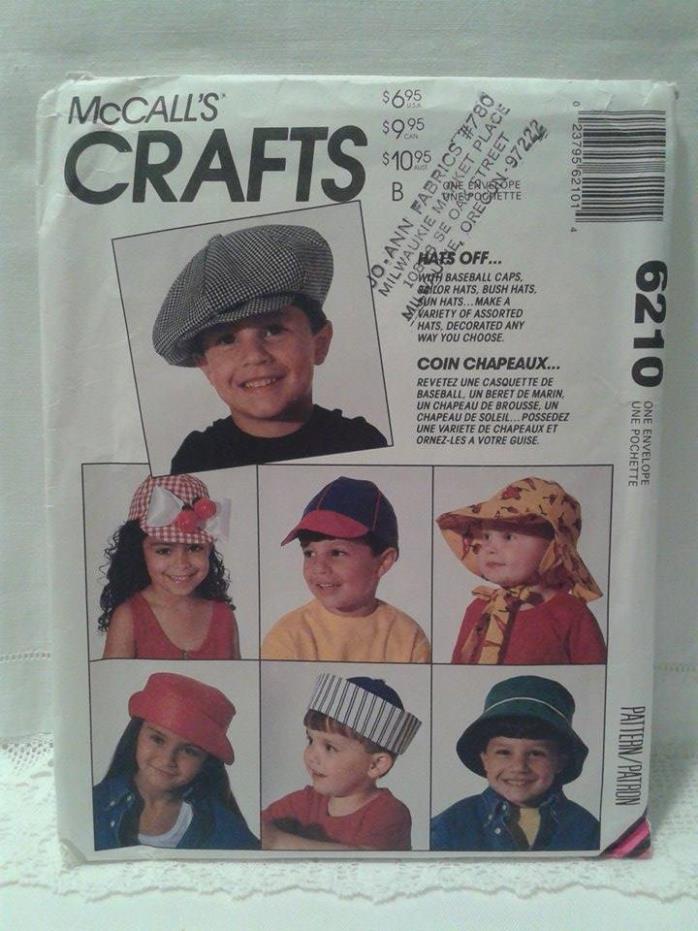 McCall's Uncut OOP Crafts Pattern Girl's Boy's Hats Caps Bonnets 16 Designs