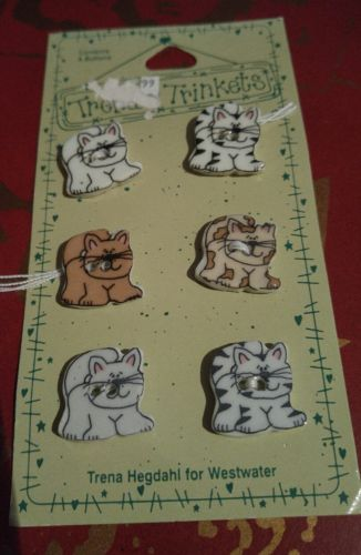 Vintage Trena's Trinkets Cats Kittens Ceramic Six (6) Buttons