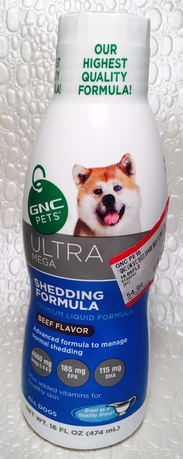 GNC Ultra Mega Shedding Formula Liquid Vitamins All Dogs 16oz Beef Flavor