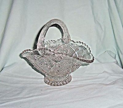 Bride's Basket crystal cut glass footed applied handle hobstar vintage
