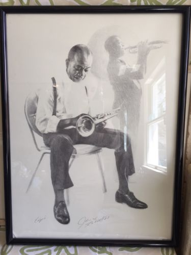 JAMES RUSSELL 1981c Hand Signed Drawing Print Of Famous Louis Satchino Armstrong
