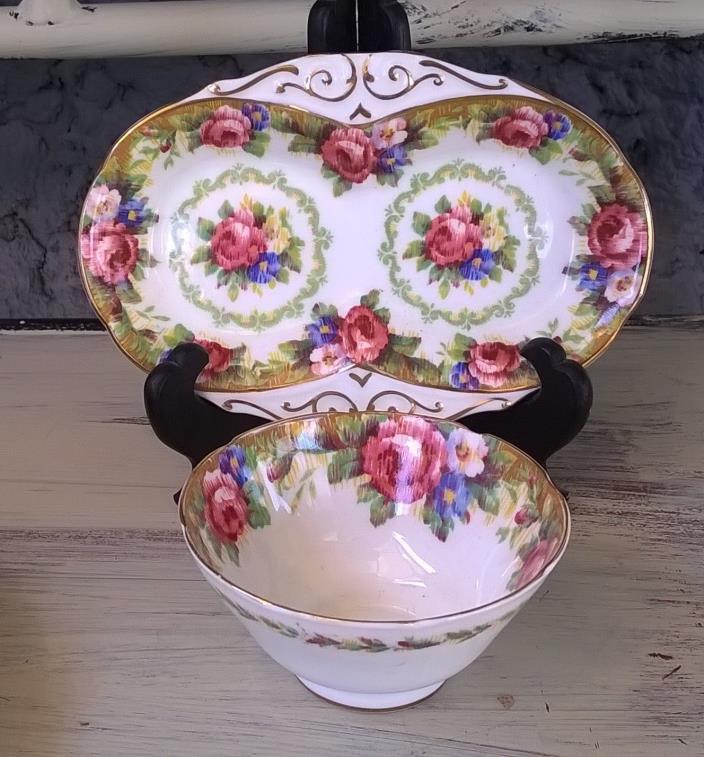 Paragon Tapestry Rose Sugar Bowl & Regal Tray