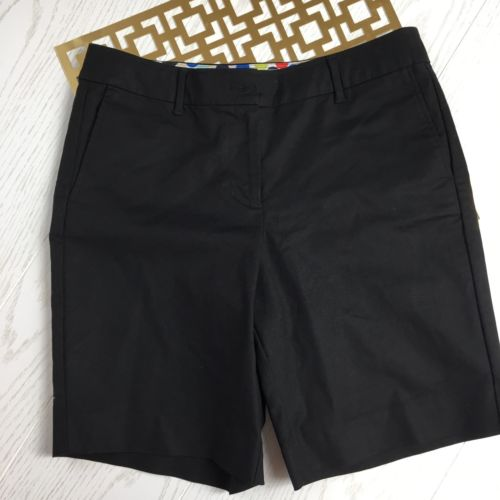 Boden Women's 6 Long Black Cotton Flat Front Walking Shorts