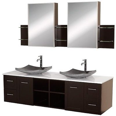 Wyndham Collection Avara 72 inch Double Bathroom Vanity in Espresso with White M