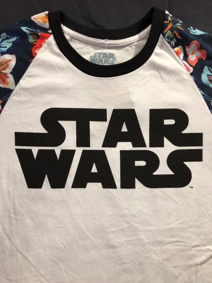 Star Wars Flowers Floral Logo Licensed Women's White / Black T-Shirt  Sz. S NEW