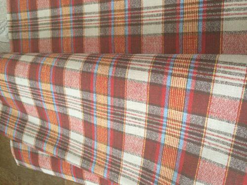 NEW Vtg Mid Century BARKCLOTH Fabric Plaid 6 Yards